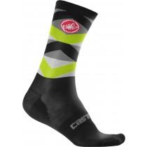 Castelli fatto 12 chaussettes de cyclisme noir fluo jaune