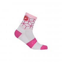 Castelli vertice chaussettes de cyclisme blanc raspberry