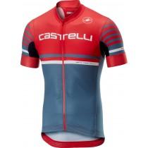 Castelli free ar 4.1 maillot de cyclisme manches courtes rouge steel bleu clair
