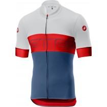 Castelli prologo VI maillot de cyclisme manches courtes ivory rouge steel bleu clair