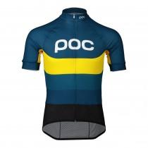 Poc essential road logo maillot de cyclisme manches courtes sulphite multi bleu jaune