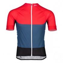Poc essential road light maillot de cyclisme à manches courtes lead bleu prismane rouge