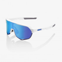 100% S2 - Matte White - HiPER Blue Multilayer Mirror Lens