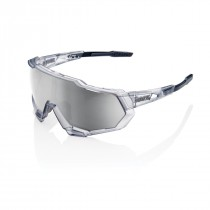100% speedtrap hiper fietsbril mat translucent crystal grijs / hiper zilver mirror lens
