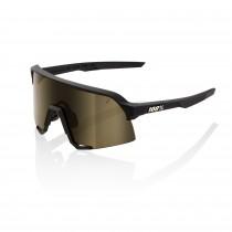 100% S3 lunettes de cyclisme soft tact noir - soft gold lentille