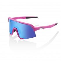100% S3 lunettes de cyclisme rose mat - hiper blue multilayer mirror lentille
