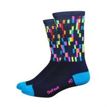 Defeet aireator high-top chaussetes cycliste pixels navy bleu