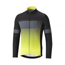 Shimano thermal team maillot de cyclisme manches longues noir jaune