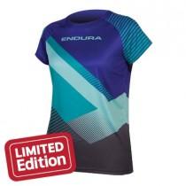 Endura singletrack print T II maillot de cyclisme manches courtes femme cobalt bleu
