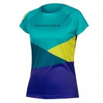 Endura singletrack core print maillot de cyclisme manches courtes femme kingfisher vert