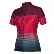Endura psychotropical graphics wave maillot de cyclisme manches courtes femme mulberry rouge
