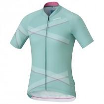 Shimano team maillot de cyclisme manches courtes femme vert blanc