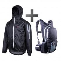 For.Bicy jacpack medium sac à dos et veste imperméable 15l noir