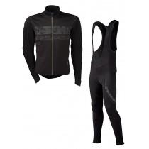 Agu pro wind hivis veste de cyclisme noir + Agu light winter wind hivis cuissard long à bretelles noir set