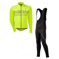 Agu pro wind hivis veste de cyclisme jaune fluorescent + Agu light winter wind hivis cuissard long à bretelles noir set