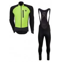 Agu pro winter softshell veste de cyclisme jaune fluorescent + Agu pro winter wind DWR cuissard long à bretelles noir set