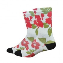 Defeet sublimation chaussetes cycliste aloha blanc vert rouge