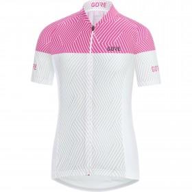 Gore C3 optiline maillot de cyclisme manches courtes femme blanc raspberry rose