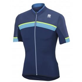 Sportful pista maillot de cyclisme manches courtes twilight bleu fluo jaune