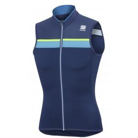 Sportful pista maillot de cyclisme sans manches twilight bleu fluo jaune