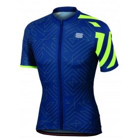 Sportful prism maillot de cyclisme manches courtes twilight bleu fluo jaune