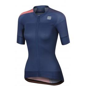 Sportful bodyfit pro w evo maillot de cyclisme manches courtes femme twilight bleu fluo coral