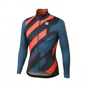 Sportful volt thermal maillot de cyclisme manches longues bleu anthracite fluo rouge