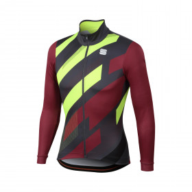 Sportful volt thermal maillot de cyclisme manches longues ruby wine anthracite fluo jaune