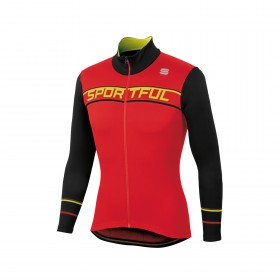 Sportful giro thermal maillot de cyclisme manches longues rouge noir