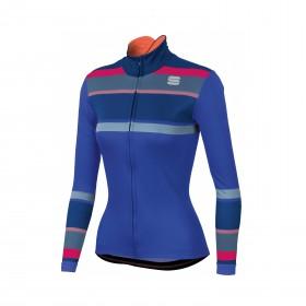 Sportful stripes thermal maillot de cyclisme manches longues femme bleu cosmic
