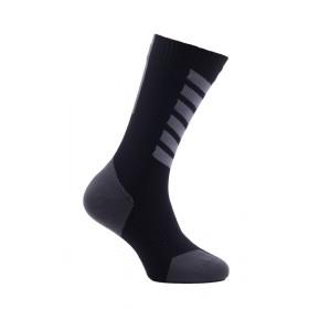 Sealskinz mtb mid mid chaussette de cyclisme imperméable avec hydrostop noir gris