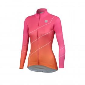 Sportful shade maillot de cyclisme à manches longues femme bubbel gum rose orange sdr