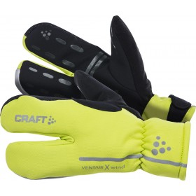 Craft siberian split finger gant de cyclisme jaune