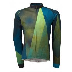 Agu evolution conquer maillot de cyclisme manches longues bleu vert