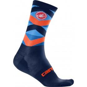 Castelli fatto 12 chaussettes de cyclisme infinity bleu foncé orange