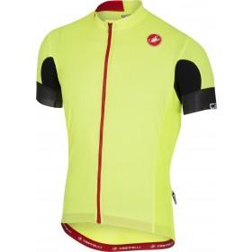 Castelli aero race 4.1 solid maillot de cyclisme manches courtes fluo jaune