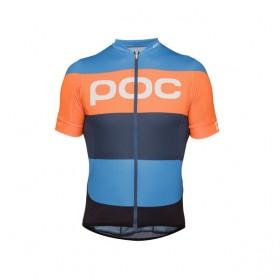 Poc essential road logo maillot de cyclisme manches courtes furfural multi bleu