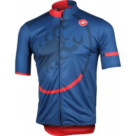 Castelli puntura maillot de cyclisme manches courtes dark infinity bleu