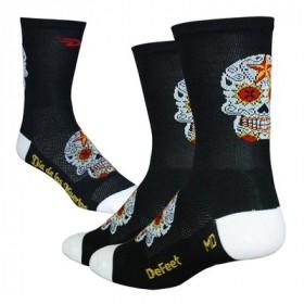 DEFEET Sock Aireator Hi-Top Sugar Skull Black White