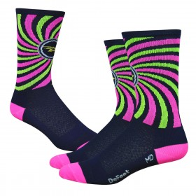 "DEFEET Sock Aireator 6"" That 70's Navy Hi Vis Pink"