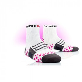 COMPRESSPORT Bike Socks High White Pink
