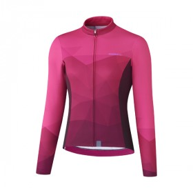 Shimano kaede thermal maillot de cyclisme à manches longues rose