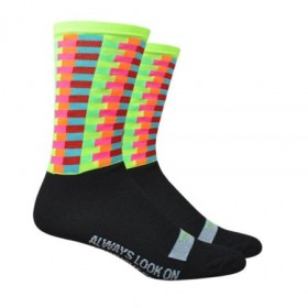 Defeet aireator high-top bright side chaussetes cycliste noir multicolor