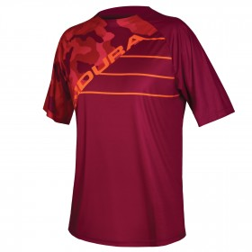 ENDURA Single Track Print Jersey SS Claret