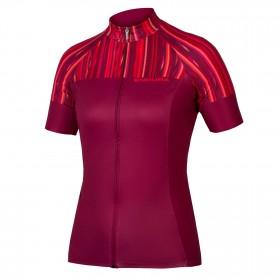 Endura pinstripe maillot de cyclisme manches courtes femme rouge
