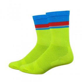 Defeet levitator lite chaussetes cycliste hi-vis jaune process bleu