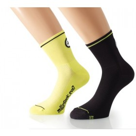 ASSOS Mille Evo 7 Sock Volt Yellow Black (2 Pairs)