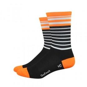 Defeet aireator high top chaussettes de cyclisme sailor noir orange