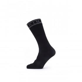 SealSkinz Waterproof Warm Weather Mid Length Sock with Hydrostop - Black/Grey