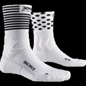 X-Socks bike race chaussettes de cyclisme arctic blanc dot stripe